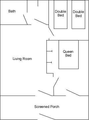 Cabins 11, 12 & 23 floor plans