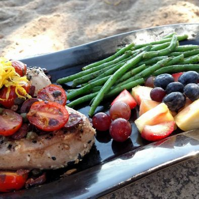 Ahi tuna topped with capers, kalamata olives and tomatoes. Ruttger's Birchmont Lodge in Bemidji, MN