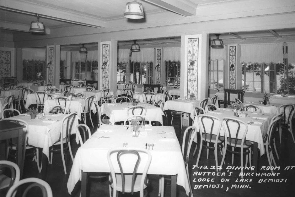 Dining Room circa 1940. Ruttger's Birchmont Lodge in Bemidji, MN