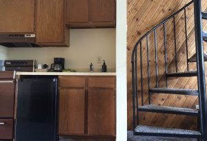 #35 spiral stairs and kitchen